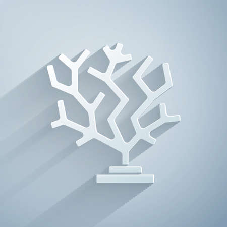 Paper cut Coral icon isolated on grey background. Paper art style. Vector
