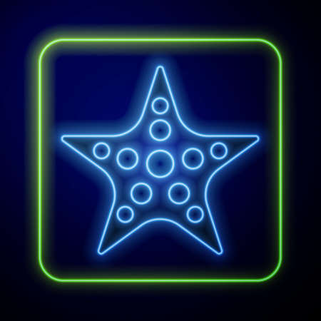 Glowing neon Starfish icon isolated on blue background. Vector