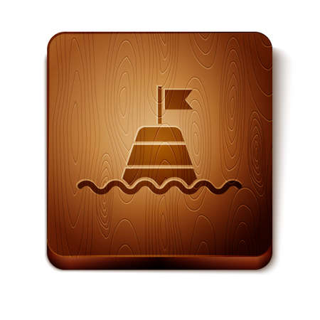Brown Floating buoy on the sea icon isolated on white background. Wooden square button. Vector