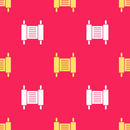 Yellow Torah scroll icon isolated seamless pattern on red background. Jewish Torah in expanded form. Star of David symbol. Old parchment scroll. Vector Çizim