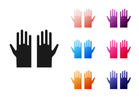 Black Medical rubber gloves icon isolated on white background. Protective rubber gloves. Set icons colorful. Vector