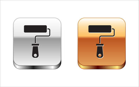 Black Paint roller brush icon isolated on white background. Silver-gold square button. Vector