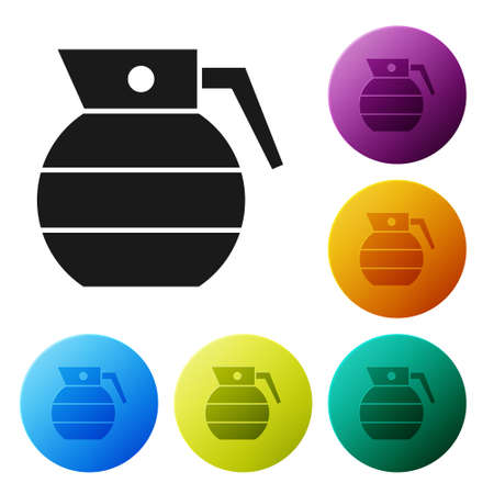 Black Hand grenade icon isolated on white background. Bomb explosion. Set icons in color circle buttons. Vector 向量圖像