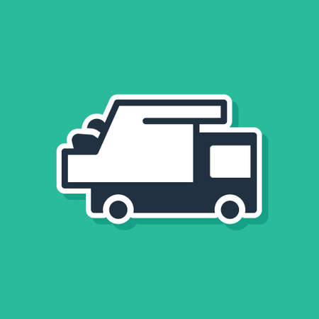 Blue Garbage truck icon isolated on green background. Vector