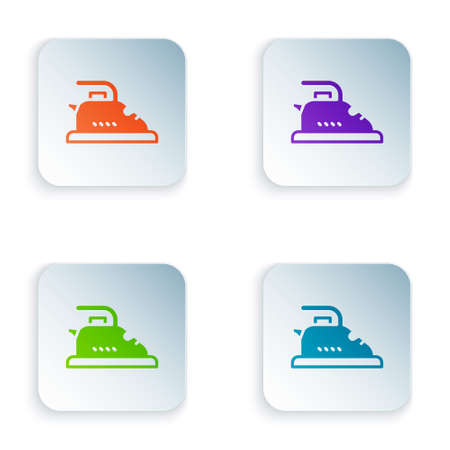 Color Electric iron icon isolated on white background. Steam iron. Set colorful icons in square buttons. Vector