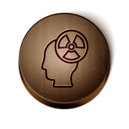 Brown line Silhouette of a human head and a radiation symbol icon isolated on white background. Wooden circle button. Vector