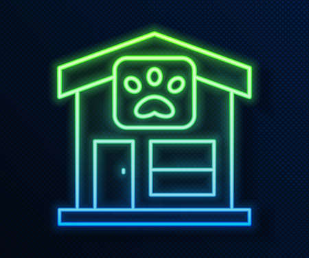 Glowing neon line Pet grooming icon isolated on blue background. Pet hair salon. Barber shop for dogs and cats. Vector 矢量图像