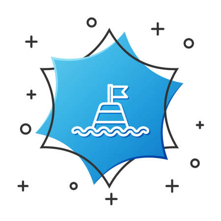 White line Floating buoy on the sea icon isolated on white background. Blue hexagon button. Vector