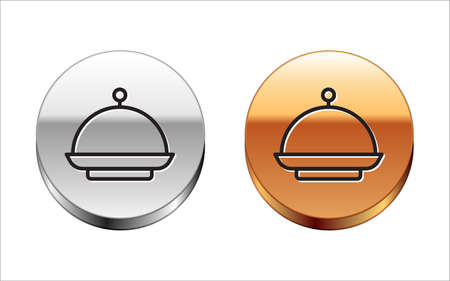 Black line Christmas covered with a tray of food icon isolated on white background. Tray and lid sign. Merry Christmas and Happy New Year. Silver-gold circle button. Vector