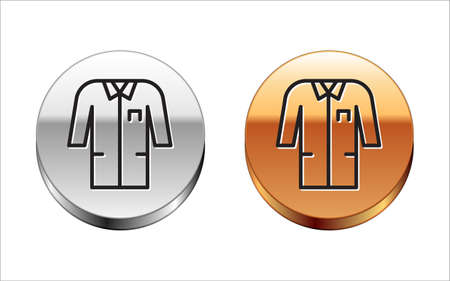 Black line Laboratory uniform icon isolated on white background. Gown for pharmaceutical research workers. Medical employee equipment. Silver-gold circle button. Vector