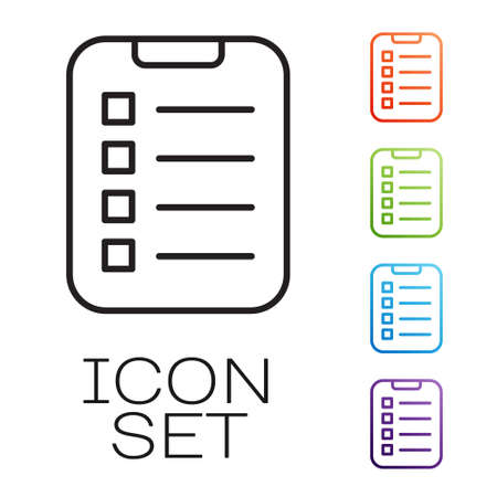 Black line To do list or planning icon isolated on white background. Set icons colorful. Vector