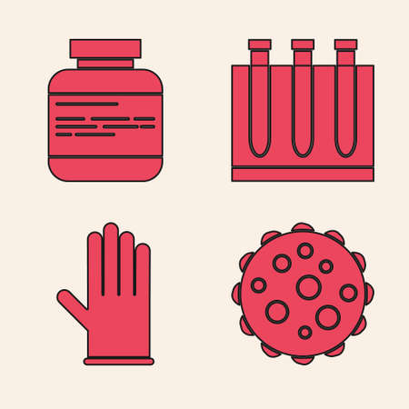Set Virus, Medicine bottle and pills, Blood test and virus and Medical rubber gloves icon. Vector