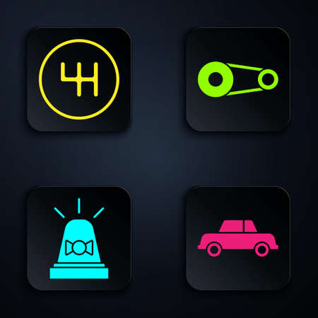 Set Car, Gear shifter, Flasher siren and Timing belt kit. Black square button. Vector Stock Illustratie