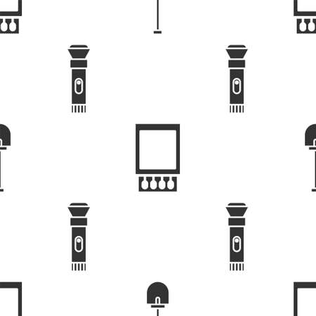 Set Shovel, Open matchbox and matches and Flashlight on seamless pattern. Vector