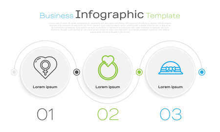 Set line Female gender in heart, Wedding rings and Elegant women hat. Business infographic template. Vector