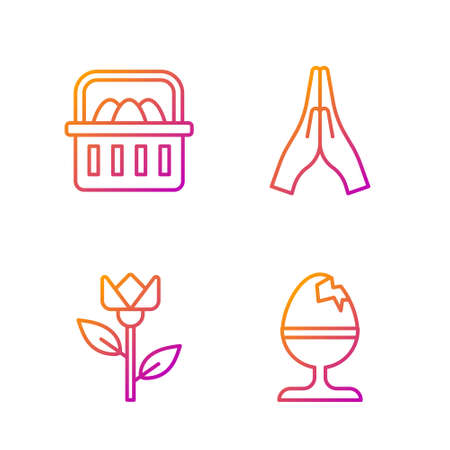 Set line Chicken egg on a stand, Flower tulip, Basket with easter eggs and Hands in praying position. Gradient color icons. Vector