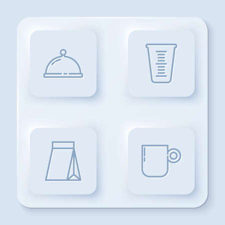 Set line Covered with tray of food, Measuring cup, Bag coffee beans and Coffee. White square button. Vector