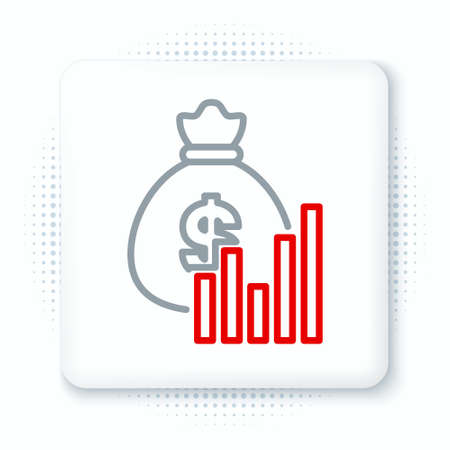 Line Money bag and diagram graph icon isolated on white background. Financial analytics, budget planning, finance managemen. Colorful outline concept. Vector
