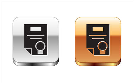 Black Certificate template icon isolated on white background. Achievement, award, degree, grant, diploma concepts. Silver-gold square button. Vector Illustration