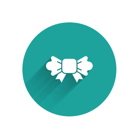 White Bow tie icon isolated with long shadow. Green circle button. Vector
