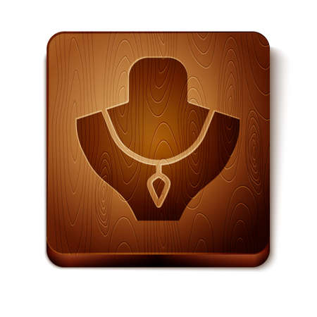 Brown Necklace on mannequin icon isolated on white background. Wooden square button. Vector