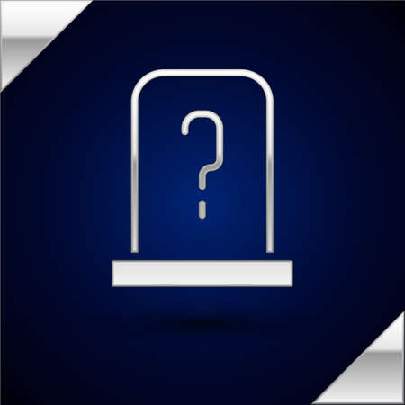 Silver Grave with tombstone icon isolated on dark blue background. Vector Çizim