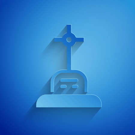 Paper cut Grave with cross icon isolated on blue background. Paper art style. Vector Çizim