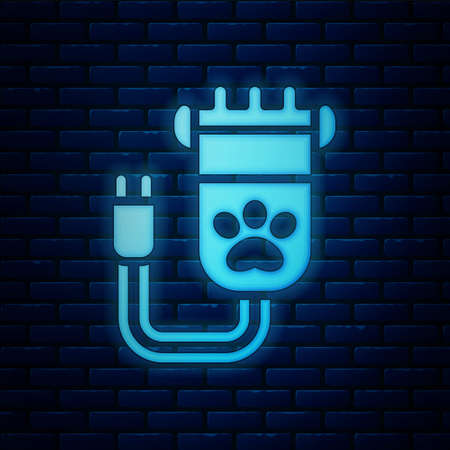 Glowing neon Hair clipper accessories for pet grooming icon isolated on brick wall background. Vector