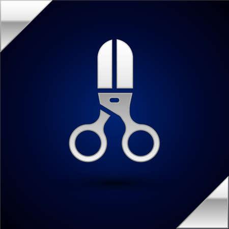 Silver Scissors hairdresser icon isolated on dark blue background. Hairdresser, fashion salon and barber sign. Barbershop symbol. Vector