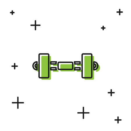 Black Dumbbell icon isolated on white background. Muscle lifting icon, fitness barbell, gym, sports equipment, exercise bumbbell. Vector Illusztráció