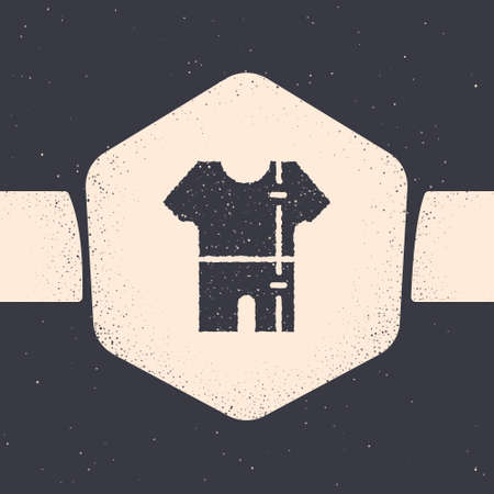 Grunge Sport track suit icon isolated on grey background. Monochrome vintage drawing. Vector