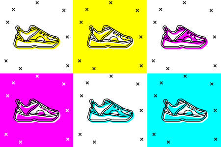 Set Fitness sneakers shoes for training, running icon isolated on color background. Sport shoes. Vector Illusztráció