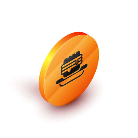 Isometric Junk food icon isolated on white background. Orange circle button. Vector