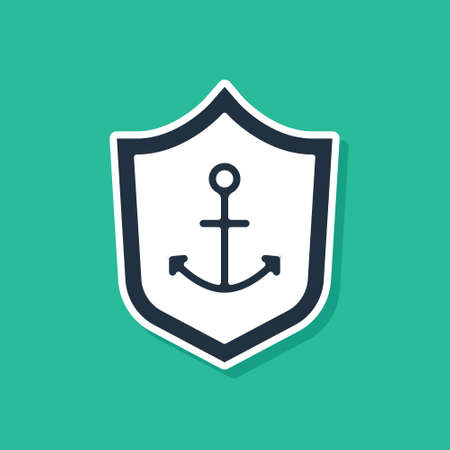 Blue Anchor inside shield icon isolated on green background. Vector Stock Illustratie