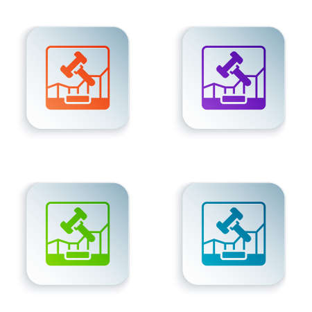 Color Online internet auction icon isolated on white background. International trade concept. Investment, stock market exchange and trading. Set colorful icons in square buttons. Vector
