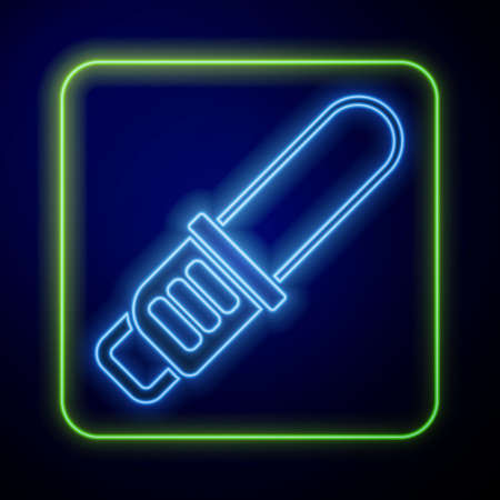 Glowing neon Chainsaw icon isolated on blue background. Vector