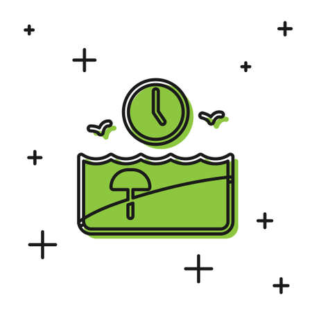 Black Vacation time icon isolated on white background. Vector 向量圖像