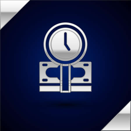 Silver Time is money icon isolated on dark blue background. Money is time. Effective time management. Convert time to money. Vector