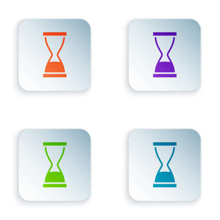 Color Old hourglass with flowing sand icon isolated on white background. Sand clock sign. Business and time management concept. Set colorful icons in square buttons. Vector