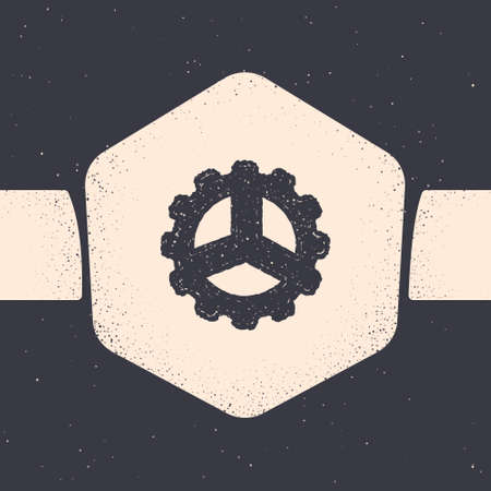 Grunge Bicycle sprocket crank icon isolated on grey background. Monochrome vintage drawing. Vector