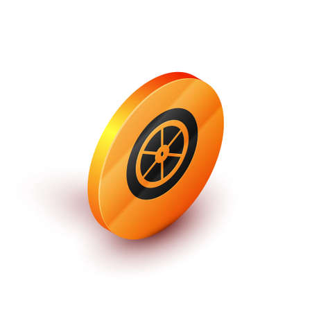 Isometric Bicycle wheel icon isolated on white background. Bike race. Extreme sport. Sport equipment. Orange circle button. Vector