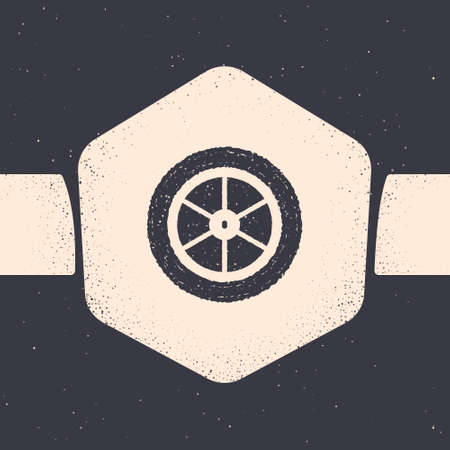 Grunge Bicycle wheel icon isolated on grey background. Bike race. Extreme sport. Sport equipment. Monochrome vintage drawing. Vector