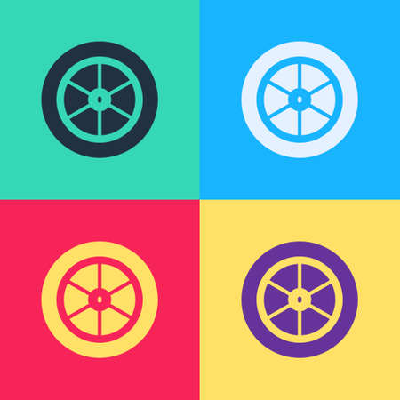Pop art Bicycle wheel icon isolated on color background. Bike race. Extreme sport. Sport equipment. Vector