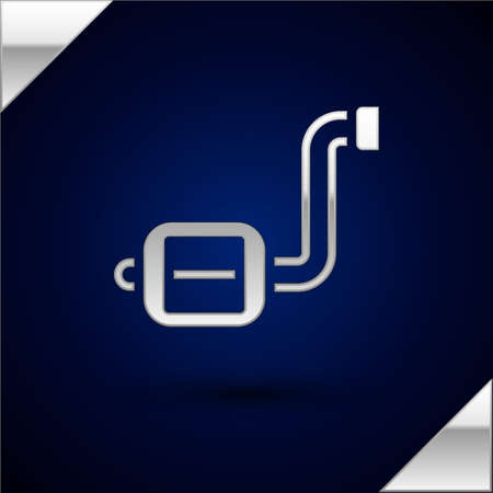 Silver Bicycle pedal icon isolated on dark blue background. Vector Stock Illustratie