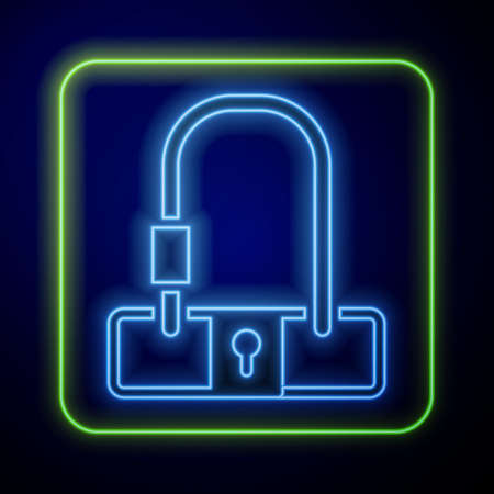 Glowing neon Bicycle lock U shaped industrial icon isolated on blue background. Vector