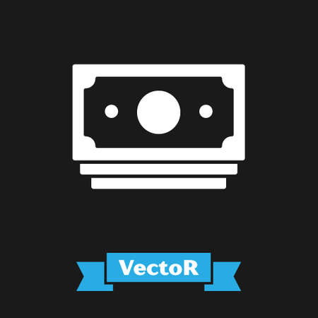White Stacks paper money cash icon isolated on black background. Money banknotes stacks. Bill currency. Vector Çizim