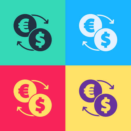 Pop art Money exchange icon isolated on color background. Euro and Dollar cash transfer symbol. Banking currency sign. Vector