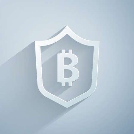 Paper cut Shield with bitcoin icon isolated on grey background. Cryptocurrency mining, blockchain technology, security, protect, digital money. Paper art style. Vector