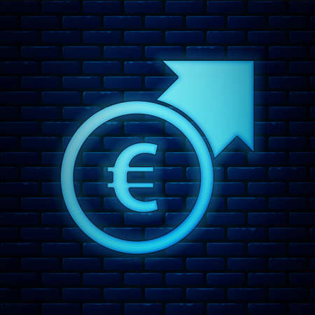 Glowing neon Financial growth and euro coin icon isolated on brick wall background. Increasing revenue. Vector