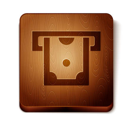 Brown ATM - Automated teller machine and money icon isolated on white background. Wooden square button. Vector